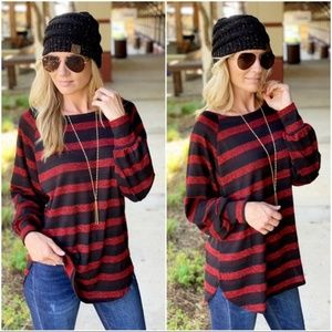Black and Red Strip Tunic